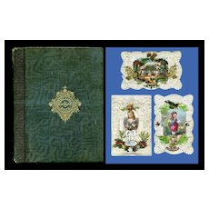 1863 Scrapbook, Ornate Cards, CDV Photos, Christmas Engraving, Handwritten Journal Pages, ++