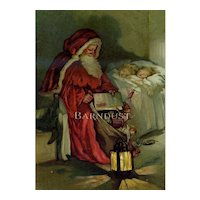 c.1895 Father Christmas / Santa Sits on Sleeping Children's Bed, Leaves Toys ♥ Rare Chromolitho Print ♥