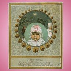 c.1882 Santa & Sleigh Belle Baby, Christmas Card by L. Prang