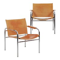 """Vintage Pair of Chrome and Leather """"Klint"""" Arm Chairs by Tord Bjorklund"""