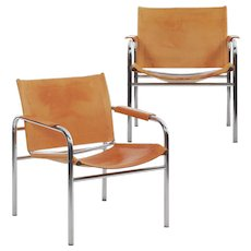 "Vintage Pair of Chrome and Leather ""Klint"" Arm Chairs by Tord Bjorklund"