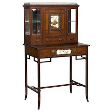 Aesthetic Movement Mahogany Bonheur du Jour Secretary Desk Cabinet circa 1880