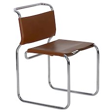 "Vintage ""CH66"" Chrome and Leather Tubular Side Chair by Nicos Zographos"