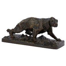 """French Spaniel Dog"" French Antique Bronze Sculpture by Christophe Fratin"
