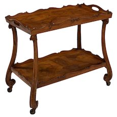 Italian Antique Walnut Two-Tier Serving Table Bar Cart, early 20th century