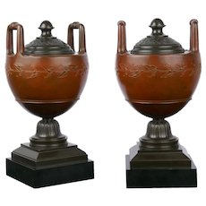 Pair of Neo-Greco Antique Bronze Garniture Urns in French taste circa 1880s