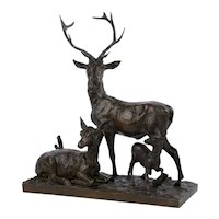 "Bronze Sculpture Group ""Family of Deer"" by Christophe Fratin & Debraux"