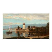 """Lakeview"" (1868) American Antique Landscape Painting by Frank Henry Shapleigh"