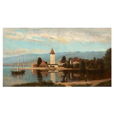 """""""Lakeview"""" (1868) American Antique Landscape Painting by Frank Henry Shapleigh"""