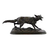 """Panting Fox"" (1847) Atelier Bronze Sculpture by Pierre Jules Mene"