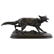 """Panting Fox"" (1847) Atelier Bronze Sculpture by Pierre Jules Mene"
