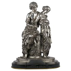 """Daphnis et Chloe"" Antique French Silvered Bronze Sculpture by Mathurin Moreau"