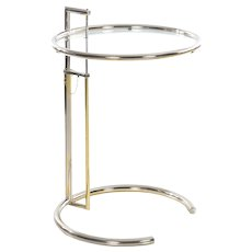 "Art Deco ""E 1027"" Chrome and Glass Side Table by Eileen Gray circa 1970s"