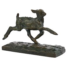 """Chevreau Courant"" French Modernism Bronze Sculpture by Ary Bitter & Susse Freres"