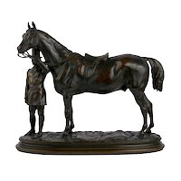 """""""Walter Scott"""" Antique Bronze Sculpture of Racehorse by Alfred Barye (French, 1839-82)"""