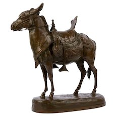 """Moroccan Donkey"" French Bronze Sculpture by Jules Edmond Masson"