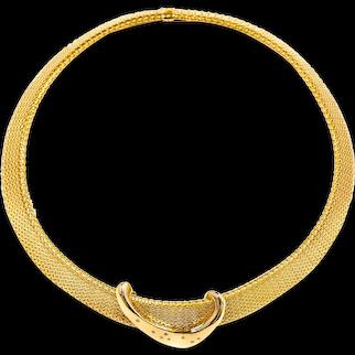 Vintage 14k Gold Woven Choker Necklace w/ Modernist Diamond Pendant, 91.4 grams
