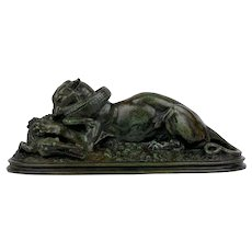 """20th Century Bronze Sculpture """"Tiger Devouring a Gavial"""" after Antoine-Louis Barye"""
