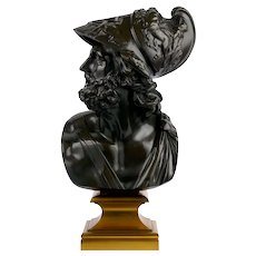 """Bust of Menelaus"" French Bronze Sculpture by Georges Servant circa 1880"