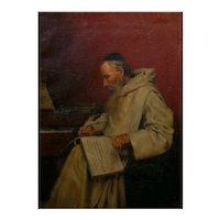 """Monk Writing Music"" Antique Oil Painting by Richard Linderum (German, b. 1851)"