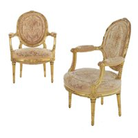 Pair of French Louis XVI Style Giltwood Antique Arm Chairs, Paris circa 1900
