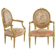 Pair of French Louis XVI Style Giltwood Antique Arm Chairs Fauteuils