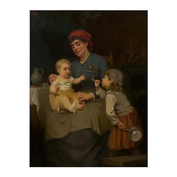 """""""Blowing Bubbles"""" Oil Painting by William Penn Morgan A.N.A (American, 1826-1900)"""