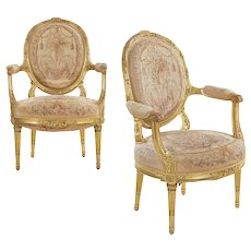 Pair of French Louis XVI Style Giltwood Antique Fauteuil Arm Chairs circa 1900