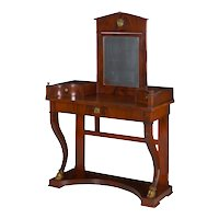 19th Century Baltic Empire Flamed Mahogany Antique Dressing Table Console