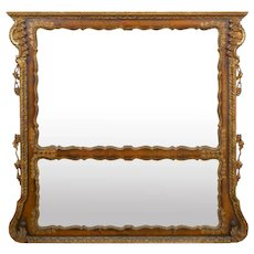 19th Century English Georgian Walnut Antique Pier Wall Mirror circa 1850s