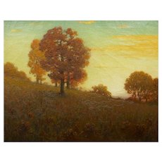 Autumn Landscape Antique Painting by Clark Summers Marshall (Baltimore, 1862-1944)