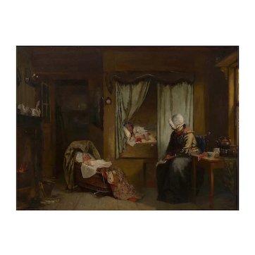 """Sleeping Baby"" Dutch Antique Oil Painting by Sipke Cornelis Kool (Dutch, 1836-1902)"