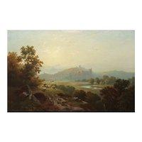 "Edward Moran (American, 1829-1901) Painting ""Landscape of Arundel Castle"" (1864)"