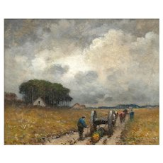 """Men Hauling Logs"" Antique American Barbizon Oil Painting by Frank Russell Green"