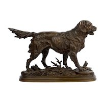 """""""Hunting Dog"""" French Antique Bronze Sculpture by Paul-Edouard Delabrierre circa 1870"""