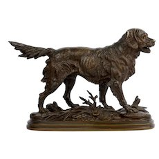 """Hunting Dog"" French Antique Bronze Sculpture by Paul-Edouard Delabrierre circa 1870"