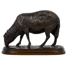 """Grazing Ram"" French Antique Bronze Sculpture by Rosa Bonheur, cast by Peyrol"
