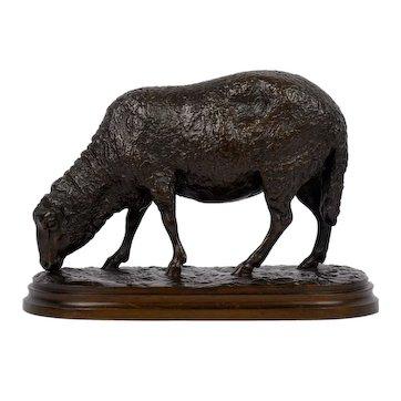 """Grazing Ram"" French Antique Bronze Sculpture by Rosa Bonheur, cast by Peyrol"