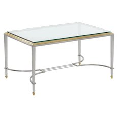 French Steel & Brass Cocktail Coffee Table in manner of Maison Jansen