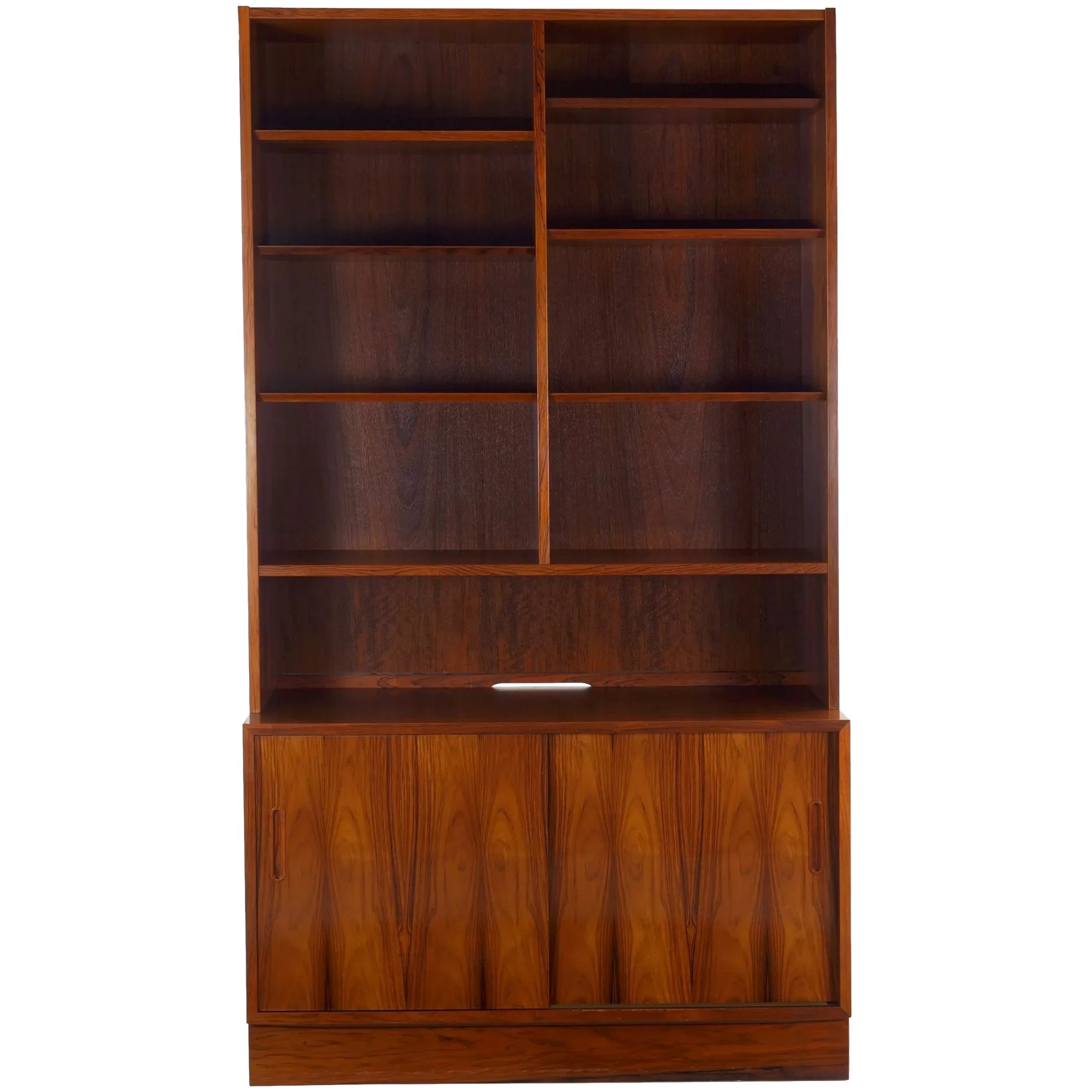 Image of: Danish Mid Century Modern Rosewood Bookcase Over Cabinet By Poul Silla Ltd Ruby Lane