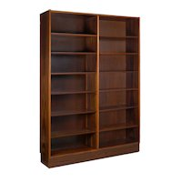 Danish Modern Rosewood Double Bookcase Bookshelf by Poul Hundevad