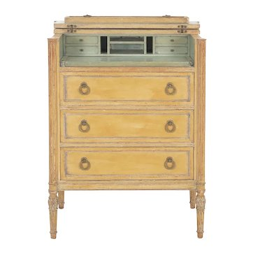 French Louis XVI Style Antique Painted Desk over Chest of Drawers circa 1940s