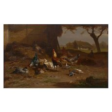 """Rooster and Hens"" Antique Belgian Landscape Painting by Eugene Remy Maes"