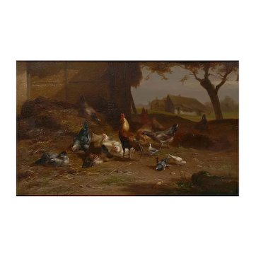 """""""Rooster and Hens"""" Antique Belgian Landscape Painting by Eugene Remy Maes"""