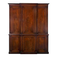English Georgian Mahogany Blind-Door Breakfront Library Bookcase Cabinet