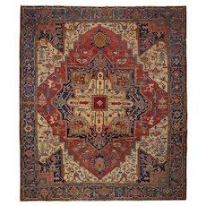 Antique Room Size Heriz Serapi Rug Carpet 13.25' x 11.5' circa 1900