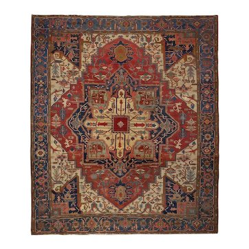 Antique Room Size Heriz Serapi Rug Carpet 13.25' x 11.5' circa 1900