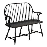 American Windsor Style Black Painted Sack-Back Settee Bench, 20th Century
