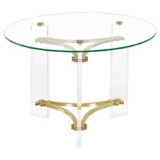 Vintage Charles Hollis Jones Brass, Glass and Lucite Accent Side Table circa 1980s
