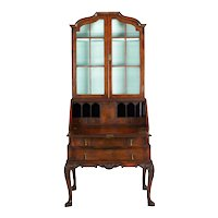 English George I Style Burl-Walnut Antique Bookcase Secretary Desk, 19th Century
